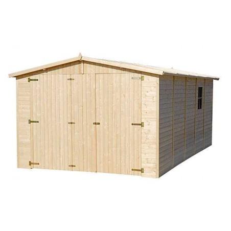 Garaje de madera Mikhail I. Dos ventanas laterales
