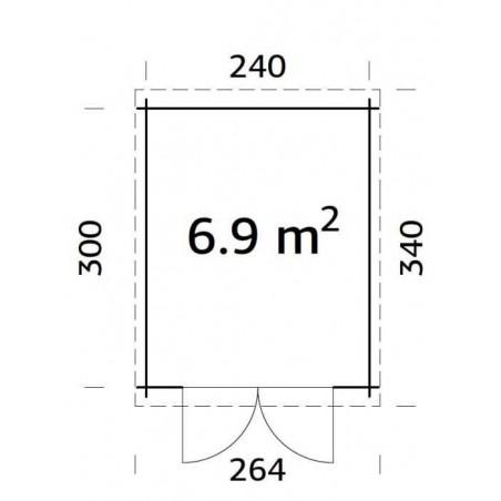 Medidas Caseta Jardín Madera | Ella. 28 mm, 260 x 320cm. 6,9m²