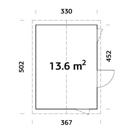 Medidas caseta madera habitable Hedwig 13,6m²