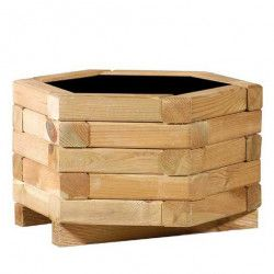 Jardinera de madera hexagonal
