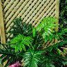 Celosía trenzada de madera para jardinera