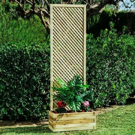 Celosía trenzada para jardinera