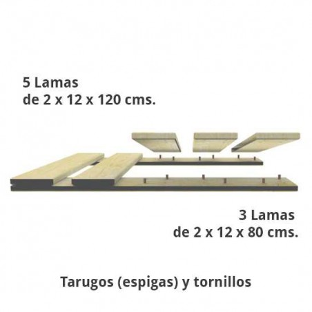 Kit Palet 4x80x120 CM | Respaldo | Loseta