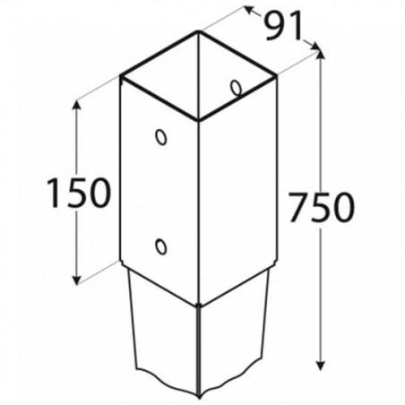 4 unids. Pletinas con punta 9x9 cm