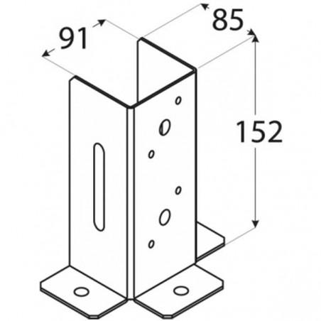 Pletina cuadrada ajuste vertical 9x9 cm