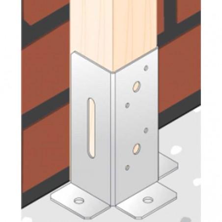 Pletina cuadrada con ajuste vertical 9x9 cm