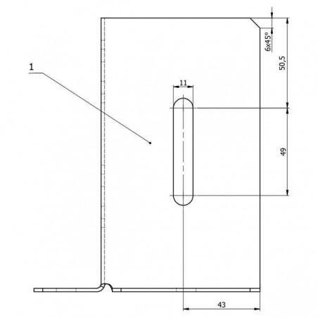 Pletina cuadrada | Ajuste vertical 9x9 cm