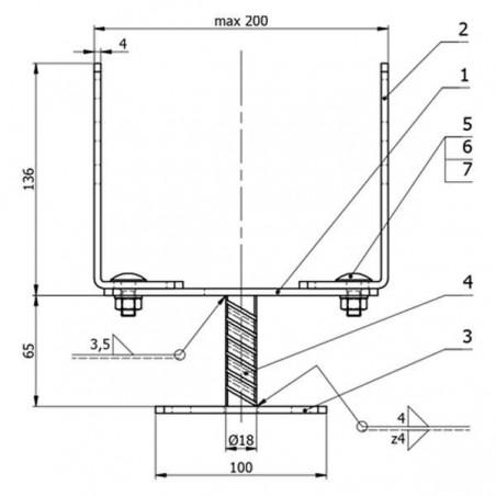 Soporte pérgola ajustable de 0-20 cm | 4886