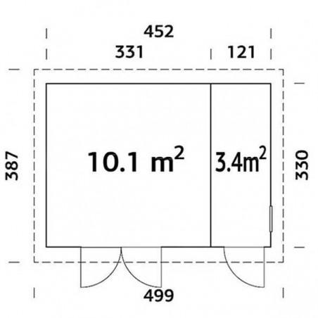 Medidas cobertizo Kalle 88 mm. 452x330 cm, 13,5 m²