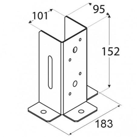 1 und. Anclaje 10x10 cm (3 caras)