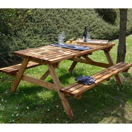 Mesa picnic madera 40mm. 150 x 180 cm