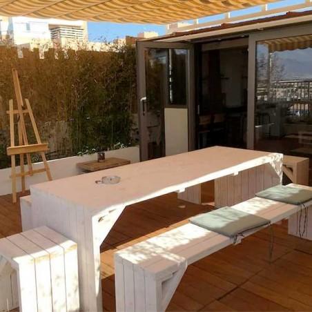 Mesa de madera para exterior Line. 44mm, 233 x 84 cm