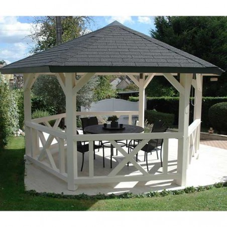 Cenador pérgola de madera Betty, 9.9 m²