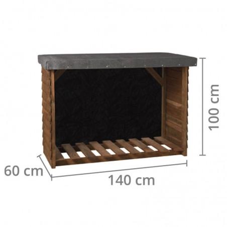 Medidas Leñero de madera Sol  | 140x100x60cm