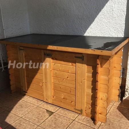 Cofre de madera para piscinas. Armario de exterior.