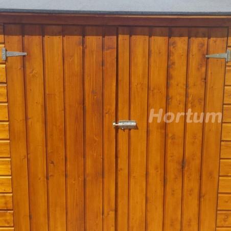 Detalle armario de madera para jardín Albecove 170x82cm, 12mm