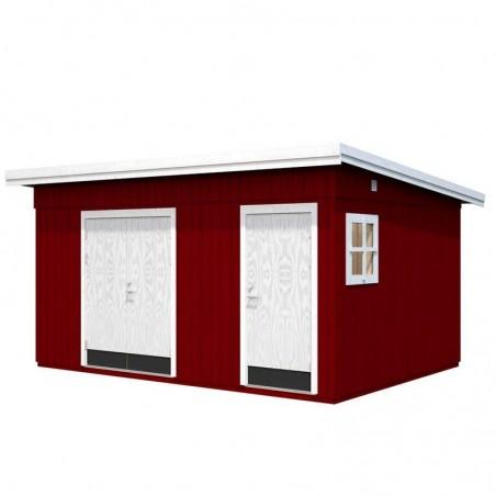 Caseta de madera Kalle. Ventana Lateral. Pareces aisladas. Color rojo