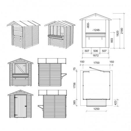 Plano Kiosco Madera Mojito, 14mm, 170x175cm, 5m²