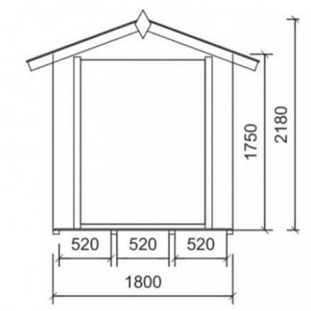 Medidas - Caseta Brunico 18mm. 180x180 cm. 3,3m²