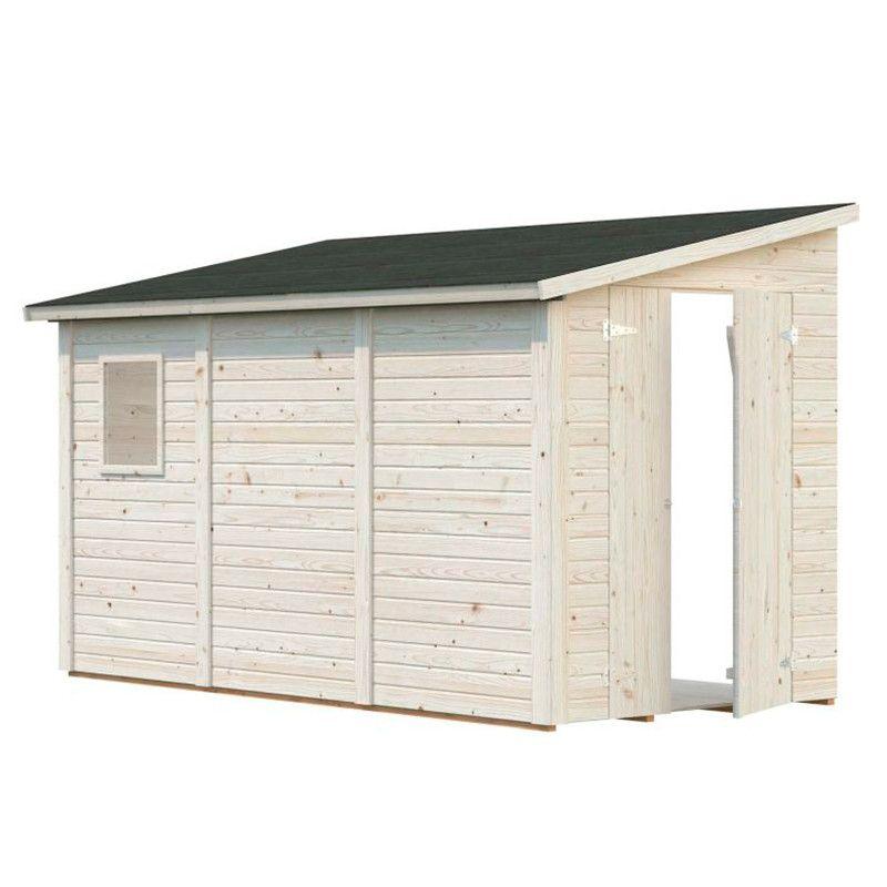 Cobertizo adosado de madera para jardín 5,2 m²
