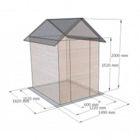 Medidas caseta de madera para jardín Ambeal 12mm, 122x162cm 1.98m²