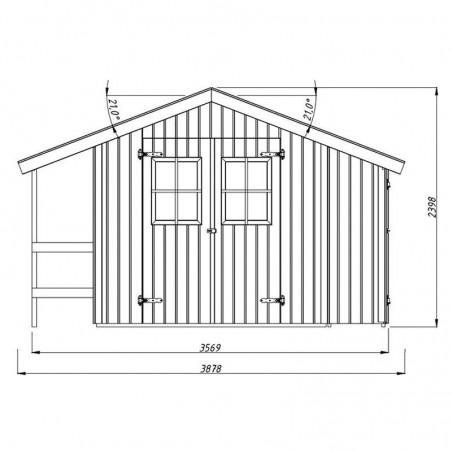 Medidas frontal y altura caseta de madera Marcus. Palmako