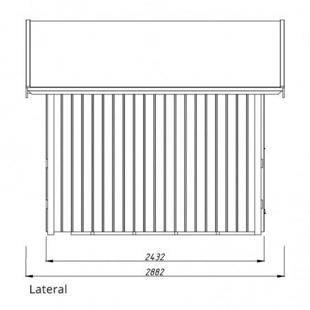 Medidas lateral y altura caseta de madera Marcus. Palmako