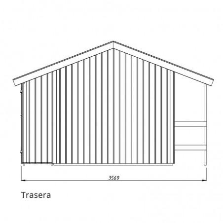 Medidas parte trasera y altura caseta de madera Marcus. Palmako