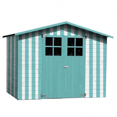 Cobertizo de madera Lodum, pintado color azul y blanco