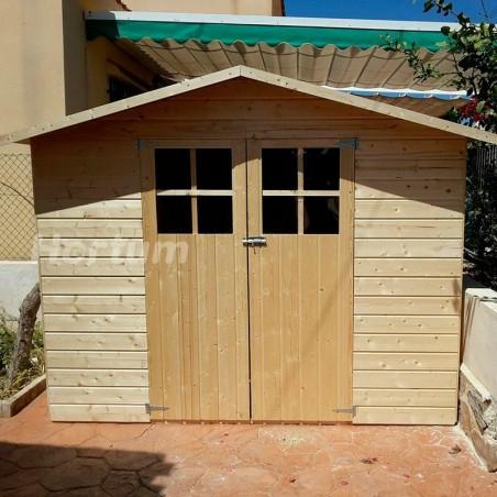 Caseta de madera para jardín o terraza Lodum. Doble puerta frontal