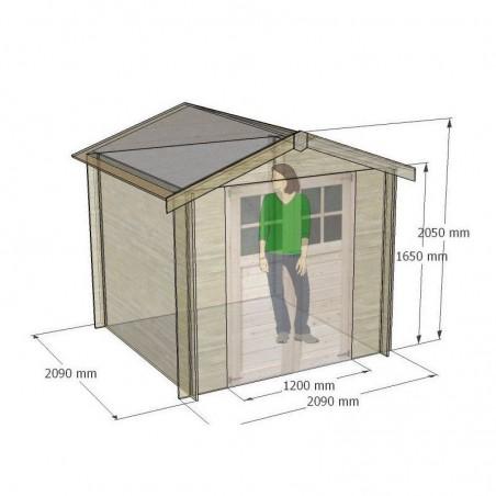 Medidas caseta de madera Milovic 19 mm, 209 x 209 cm, 4.37m²
