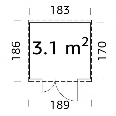Medidas cobertizo de madera Leif 3.1m² - Hortum