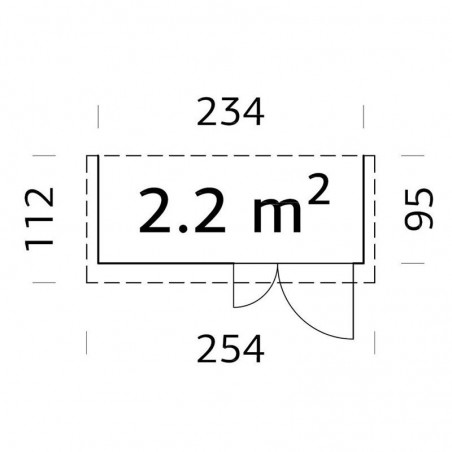 Medidas armario para jardín Leif 234 x 95 cm