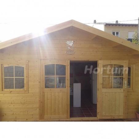 Caseta de madera Lebeche. 34 mm,  486 x 386 cm. 18.76 m²