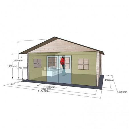 Medidas caseta madera Lebeche. 34 mm,  486 x 386 cm. 18.76 m²