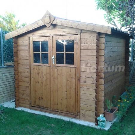 Caseta de madera Mistral de 233x233 cm, tratada con aceite protector Hortum