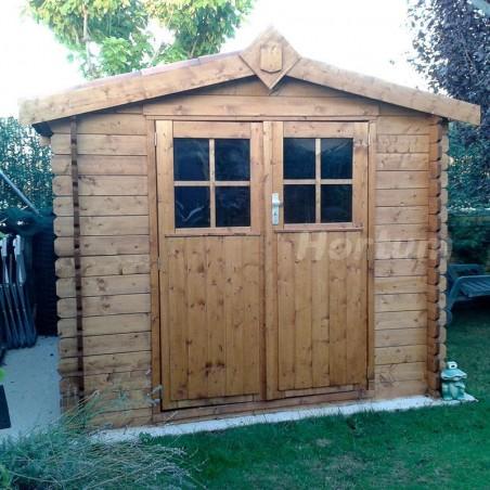 Frontal caseta de madera Hortum. Tratada por impregnación