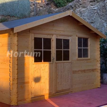 Caseta de madera Flodeal 12m2, instalada en terraza