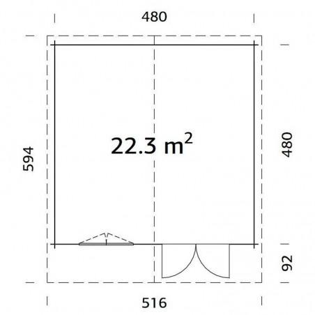 Medidas caseta de madera Britta 22,3 m²