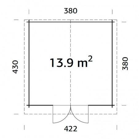 Medidas caseta de jardín Lotta 13.9m²