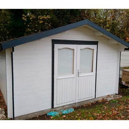 Caseta de madera 16m2. Caseta pintada de Blanco. Fabricada por Palmako, instalada por Hortum.