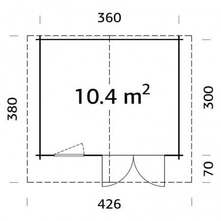 Medidas caseta Emma, 34 mm, 380 x 320 cm. 10.4 m²