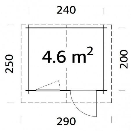 Medidas caseta Emma 28 mm, 260 x 220 cm, 4.6 m²