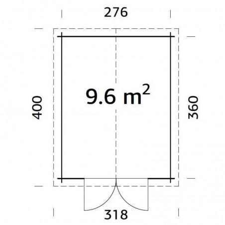 Medidas garaje de madera Ralf   28 mm, 296 x 380 cm, 9,6 m²