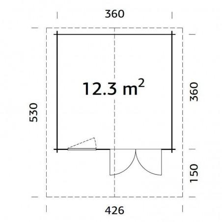 Medidas caseta maderaSally, 44 mm, 380 x 380 cm, 12,4 m²