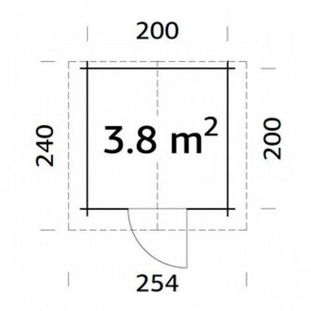 Medidas caseta de madera Vivian 3.8 m²