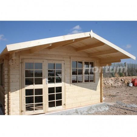 Caseta de madera con porche delantero, England2, 40mm, 404 x 404 cm, 16.3m²