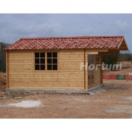Caseta de madera con teja asfáltica rojo - England2, 40mm, 404 x 404 cm, 16.3m² -Onduvilla fiorentino