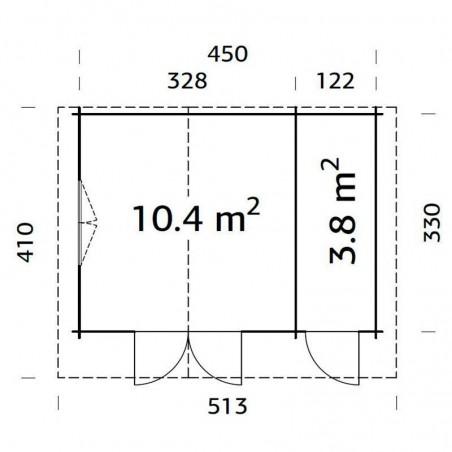 Medidas caseta madera Emma, 34 mm, 470 x 350 cm. 14.2 m²