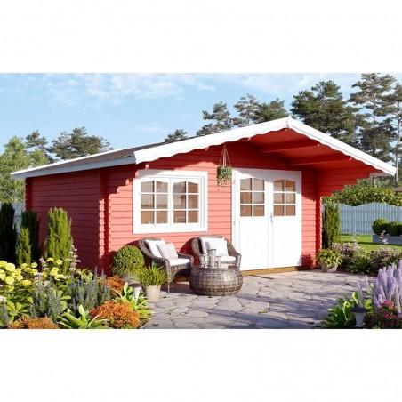 Caseta de madera Sally de Palmako, pintada en rojo